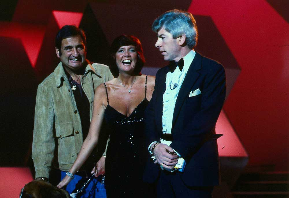 Bernie Winters, Cilla Black and Tom O'Connor in the London Night Out Christmas special, December 1980
