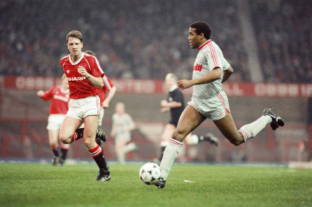 John Barnes in New Year's Day '89 match at Old Trafford