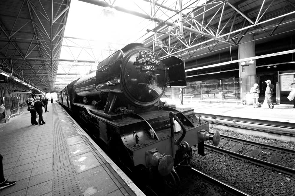 The flying scotsman passing through Manchester Victoria