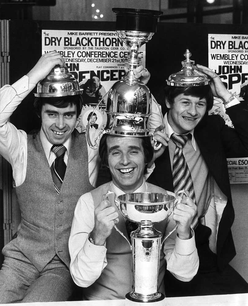 Patsy Fagan, John Spencer and Alex Higgins with snooker trophies, December 1977