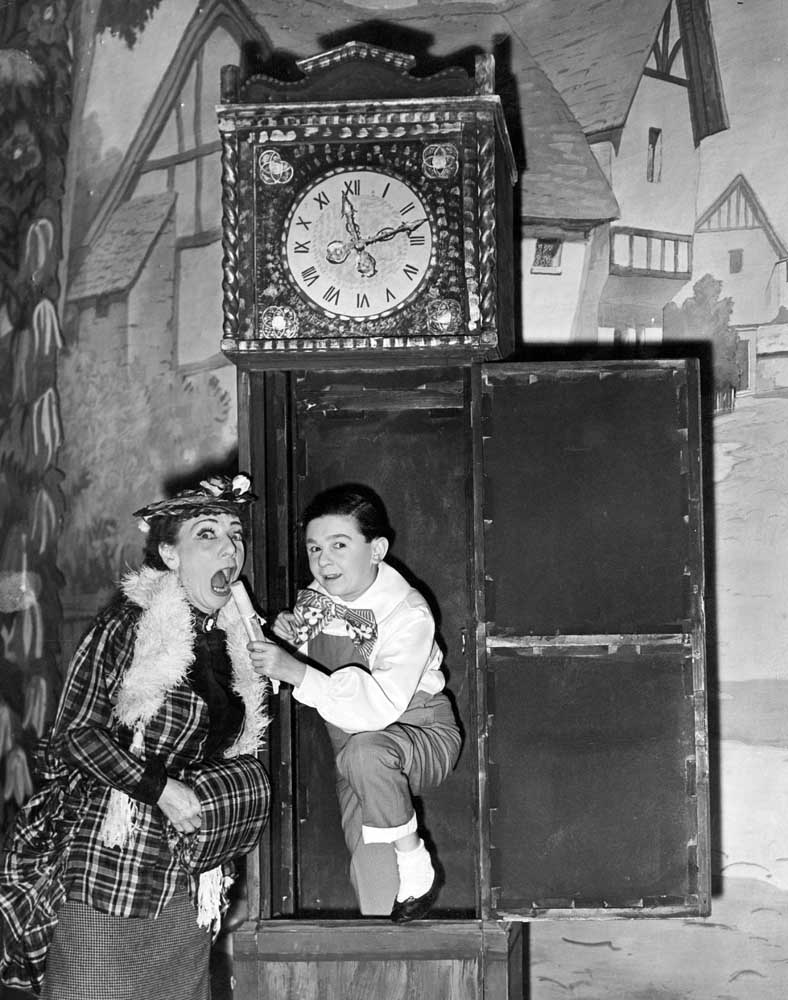 Music hall performer Hylda Baker on stage with Jimmy Clitheroe, December 1959