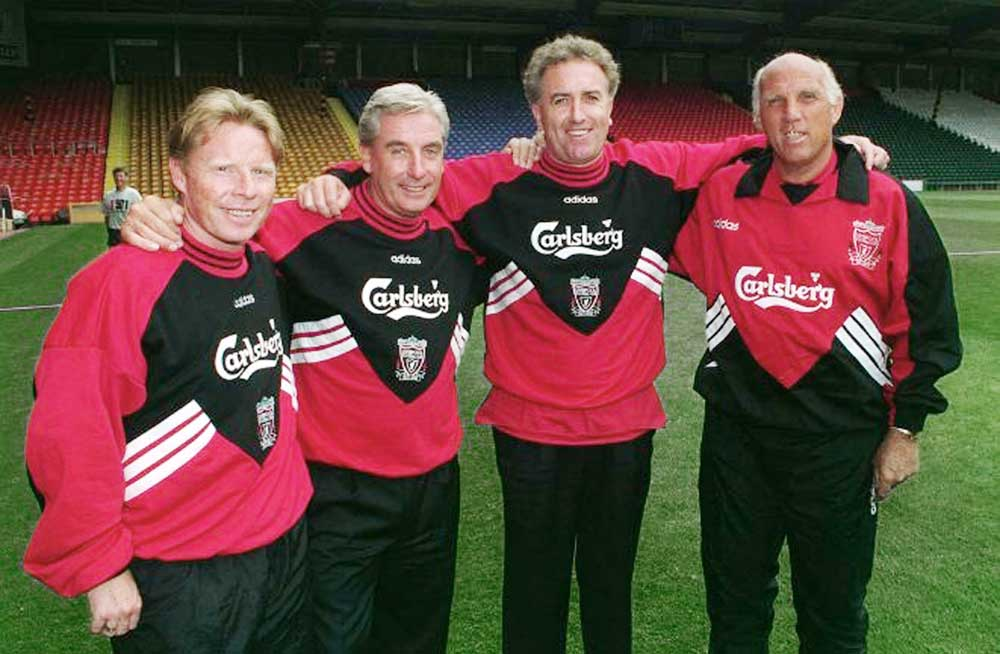 Liverpool's new 'Boot Room' – Sammy Lee, Roy Evans, Doug Livermore and Ronnie Moran, July 1994