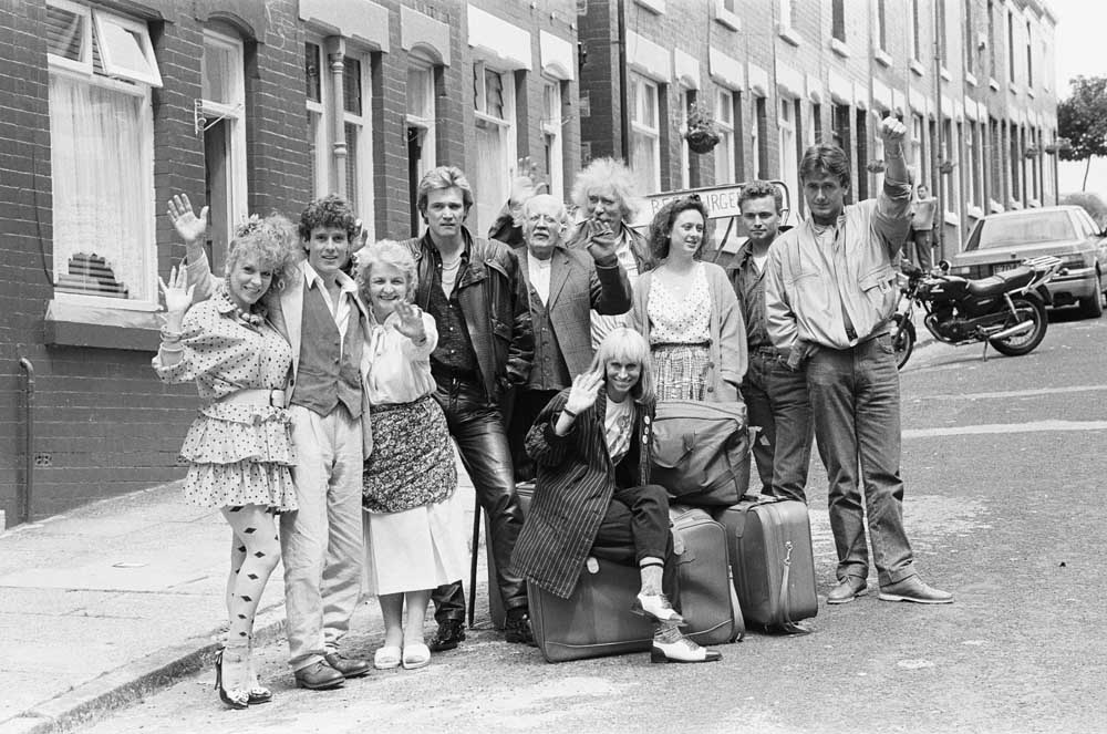 The cast of Carla Lane's sitcom Bread with Jean Boht third left, July 1987