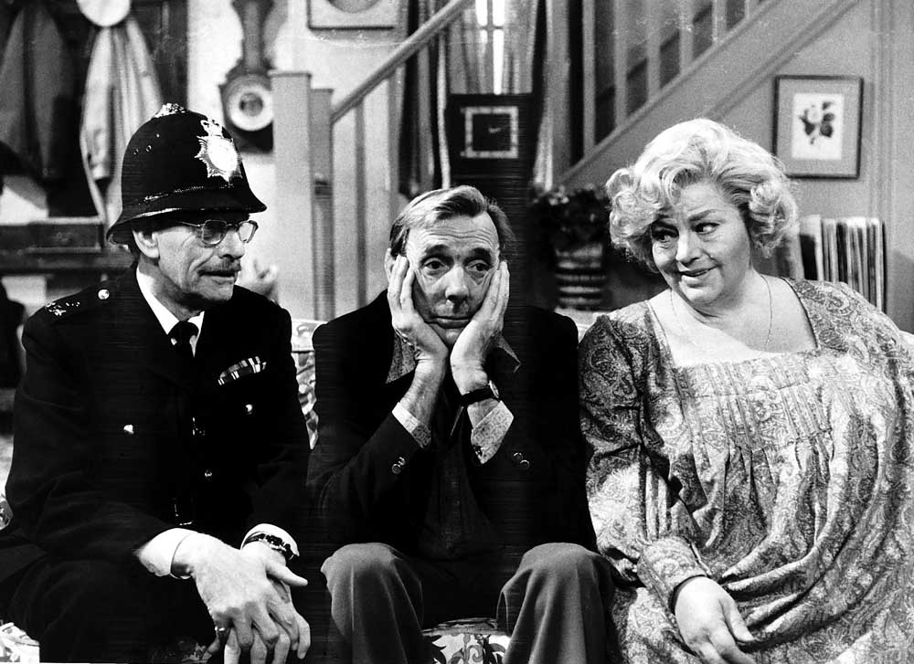 Deryck Guyler, Eric Sykes and Hattie Jacques in the TV sitcom Sykes, March 1975