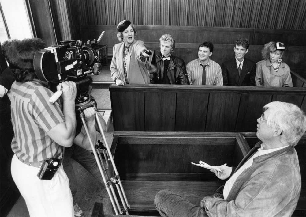 Jean Boht filming a court scene for Bread in St George's Hall, September 1988