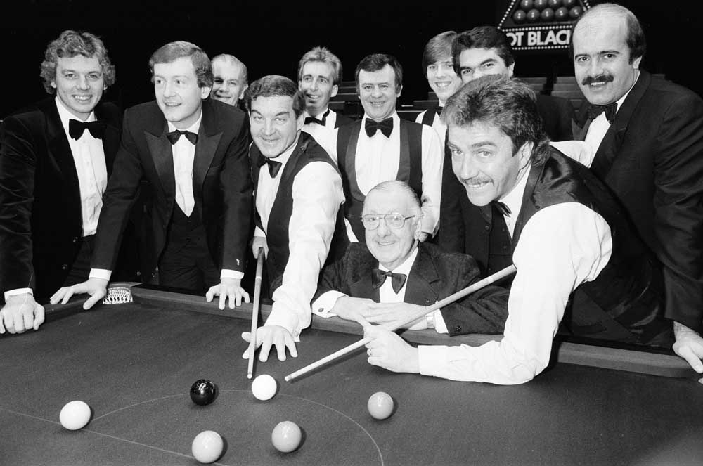 Pot Black snooker stars including presenter David Icke, Steve Davis, Eddie Charlton, Terry Griffiths, commentator Ted Lowe, Cliff Thorburn and Willie Thorne, December 1984