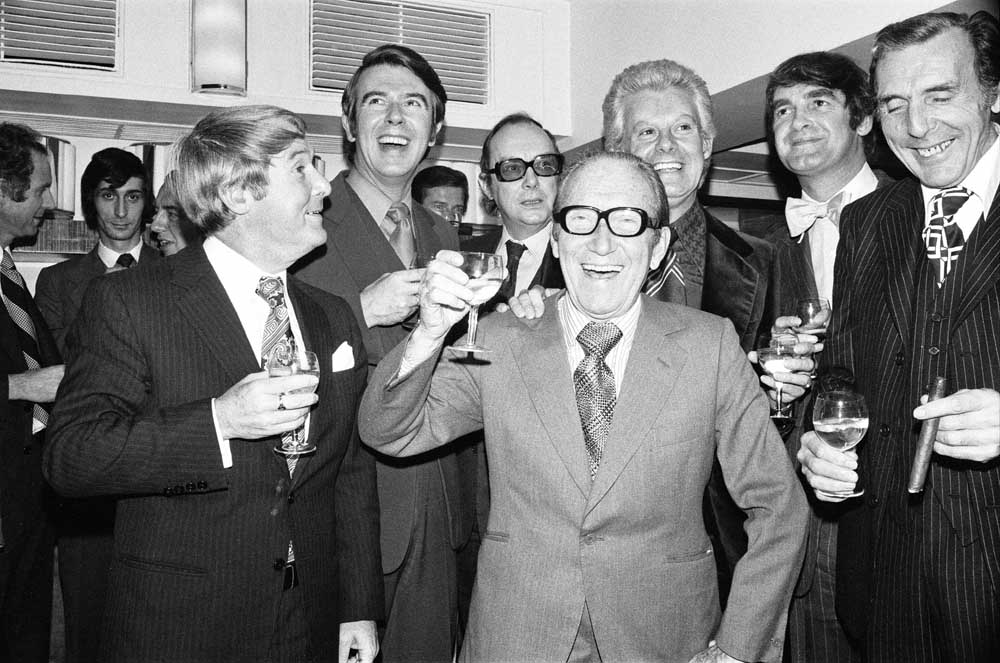 Stars including Eric Sykes, right, Morecambe and Wise and Max Bygraves help Arthur Askey celebrate 50 years in show business, October 1974