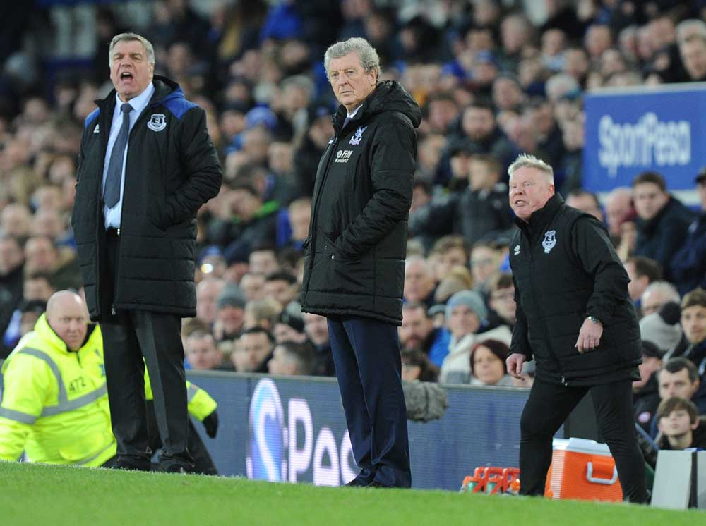 Everton boss Sam Allardyce, left, with Sammy Lee, right, and Crystal Palace manager Roy Hodgson, February 2018