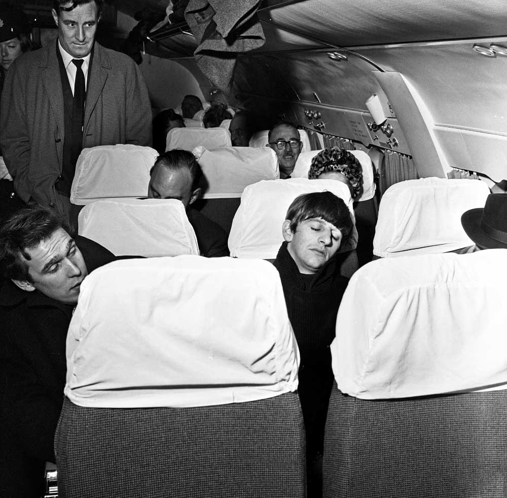 Ringo catches a late flight from Liverpool to Paris, January 1964