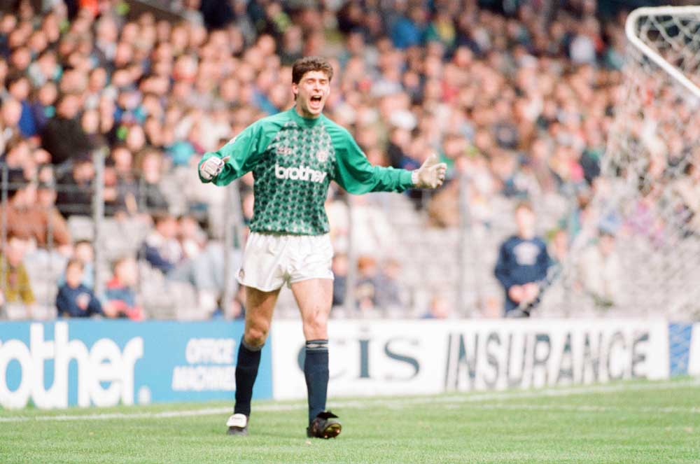 Striker Niall Quinn forced to go in goal for City against Derby County, April 1991