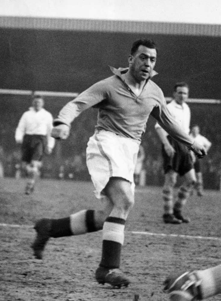 Club legend Dixie Dean on the ball for Everton, April 1937