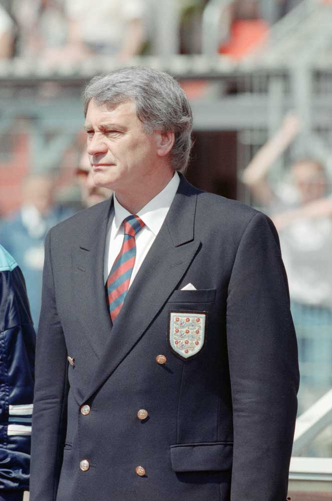 England manager Bobby Robson, who gave Sammy Lee his international debut, June 1988