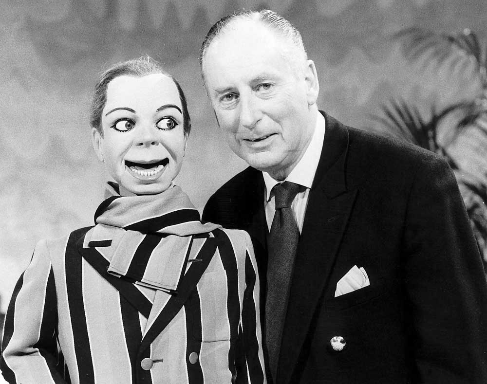 Ventriloquist Peter Brough and his dummy Archie Andrews, April 1984