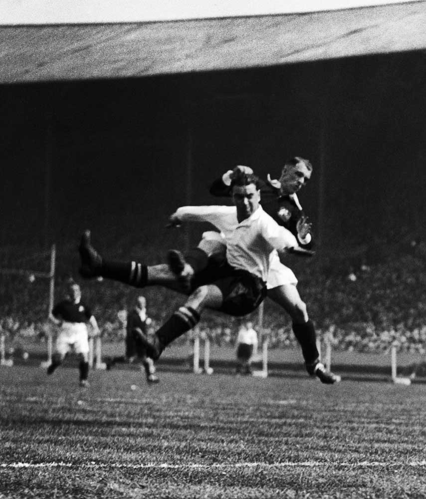 Dixie Dean competing in the 1933 FA Cup final at Wembley