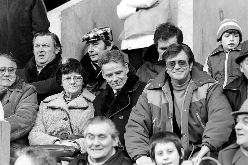 Anfield legend Billy Liddell, centre, watching Liverpool play West Brom, February 1981