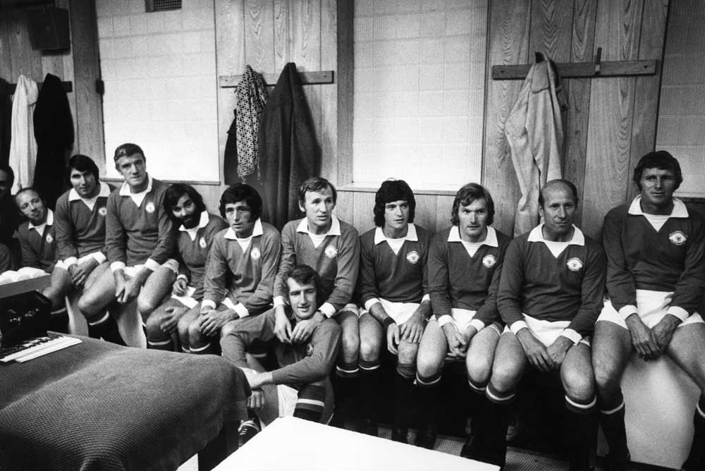 Players from the 1968 Manchester United European Cup winning team reunited for the Mike Summerbee testimonial match at Maine Road, September 1975