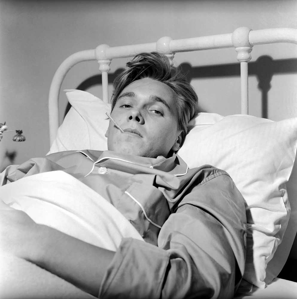 Get well soon! Billy Fury in bed suffering from kidney stones, October 1961