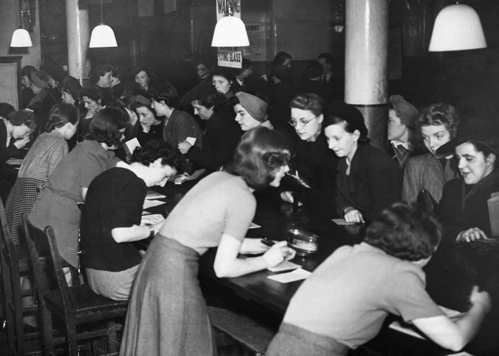 Women register at the Lease Street employment exchange, April 1941