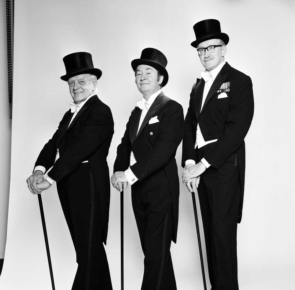 Bill Owen, Peter Sallis and Brian Wilde smartly attired in top hat and tails, January 1982