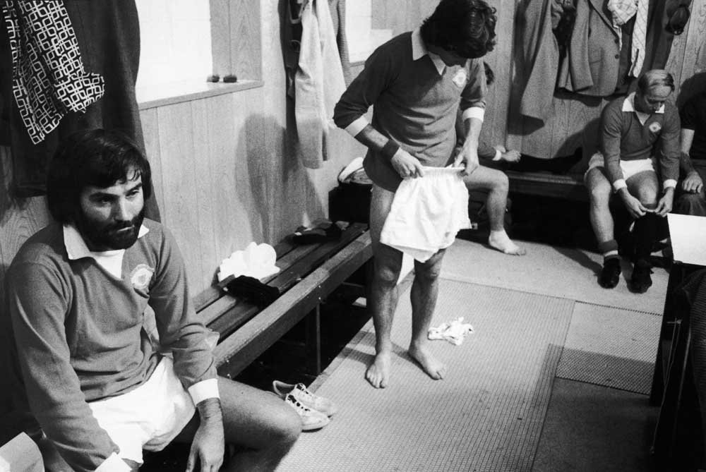 George Best in reflective mood in the Maine Road dressing room, August 1975