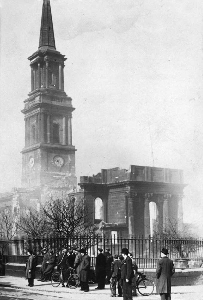 Bombed out shell of St Michael's Church, Upper Pitt Street, May 1941