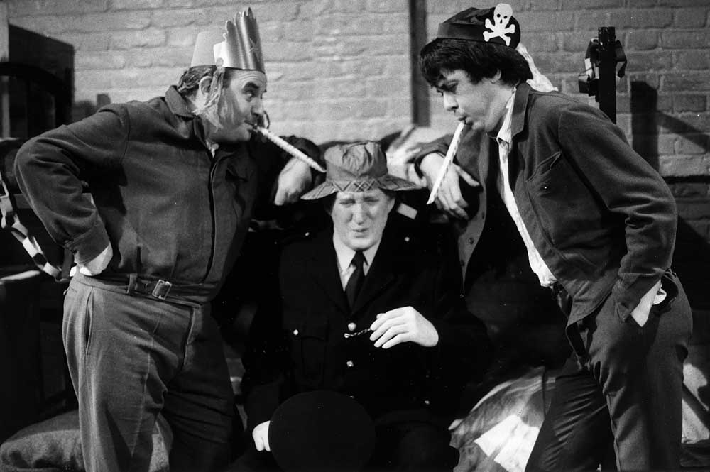 Mr Barrowclough (Brian Wilde) being tormented by Ronnie Barker (Fletcher) and Richard Beckinsale (Godber) in Porridge, December 1976