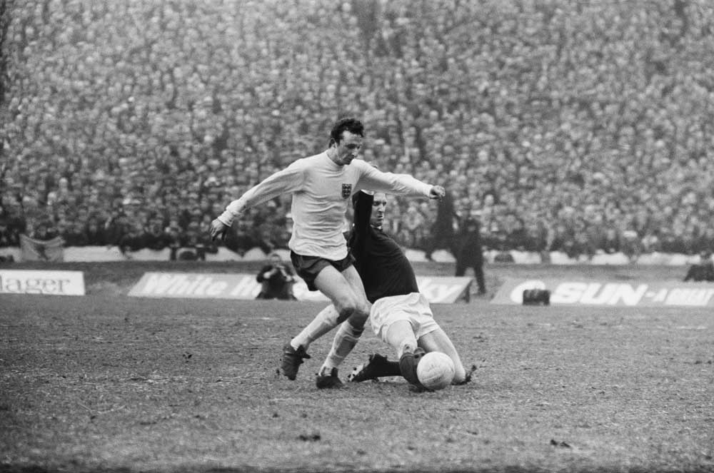 Mike Summerbee in action for England against Scotland at Hampden Park, February 1968