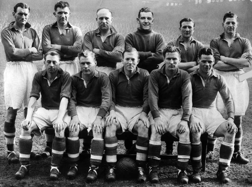 Billy Liddell, front row right, in the Liverpool team to play Wolves. Bob Paisley is back row second right, March 1950