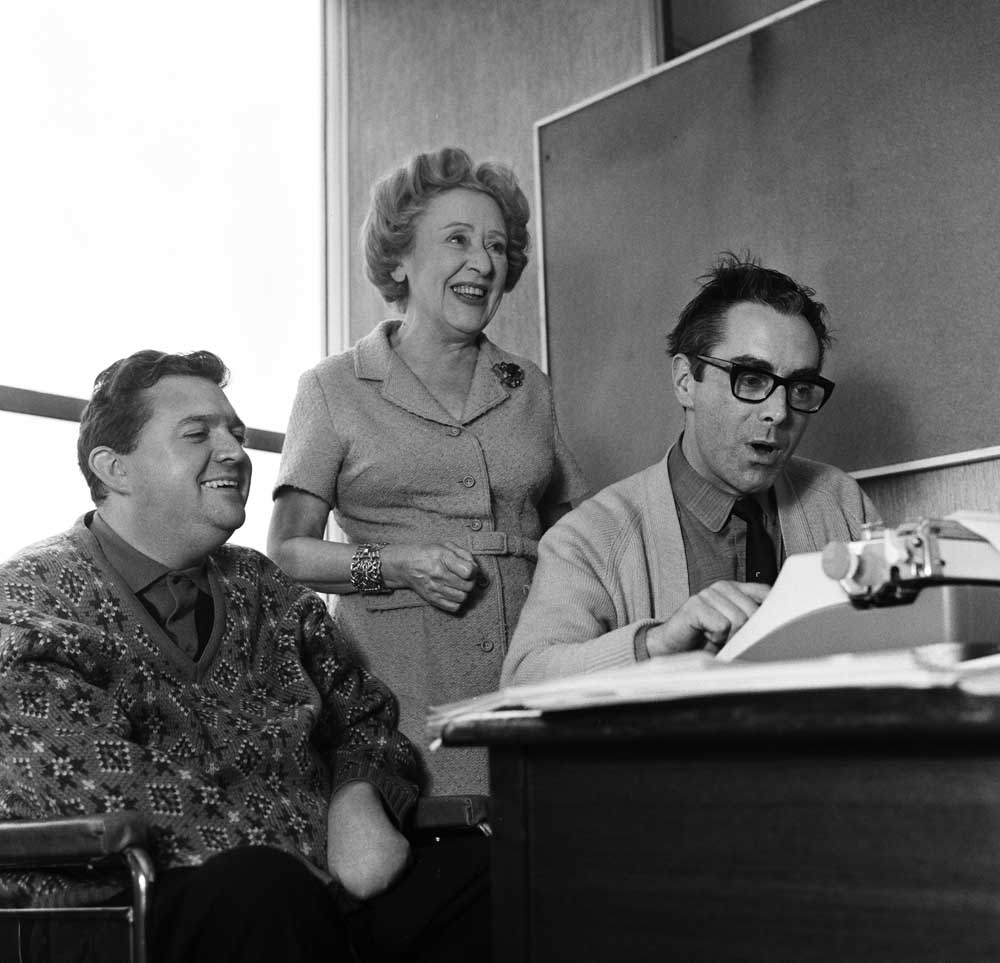 Annie Walker (Doris Speed) with scriptwriters Harry Driver and Vince Powell, November 1966