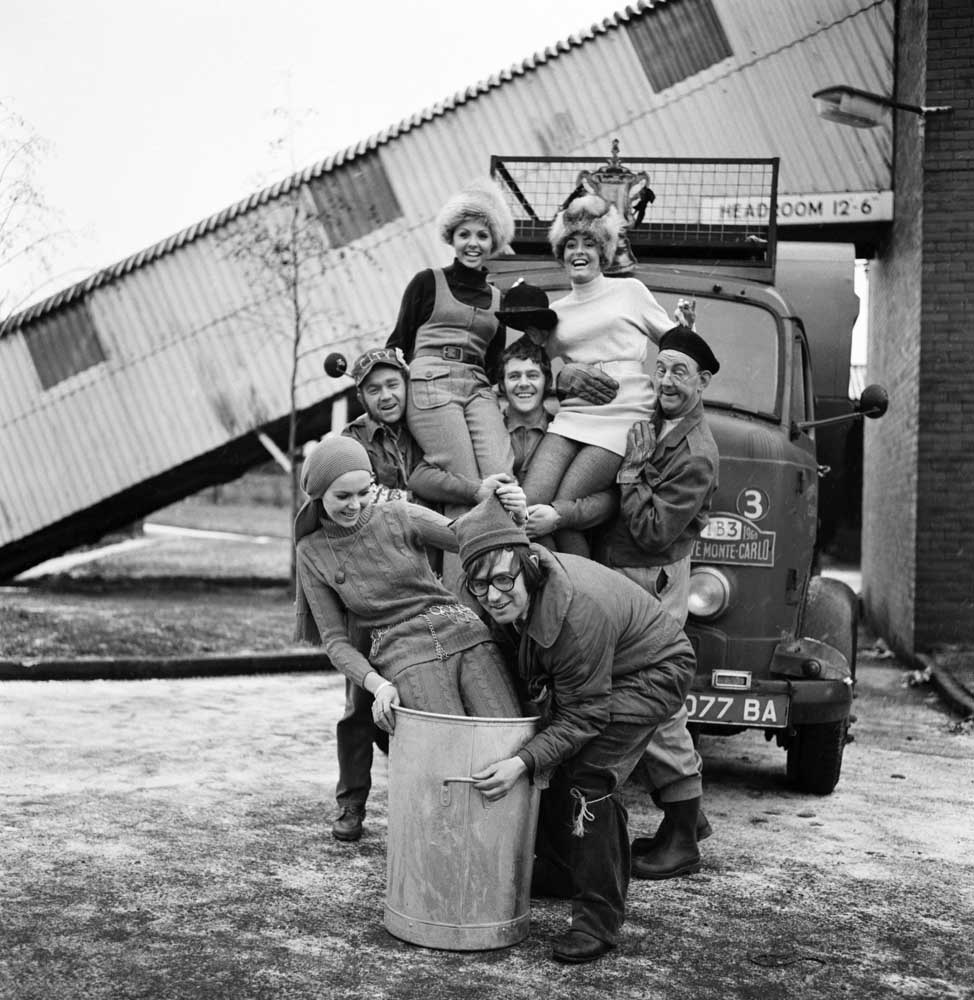The cast of the Granada sitcom The Dustbinmen, December 1969