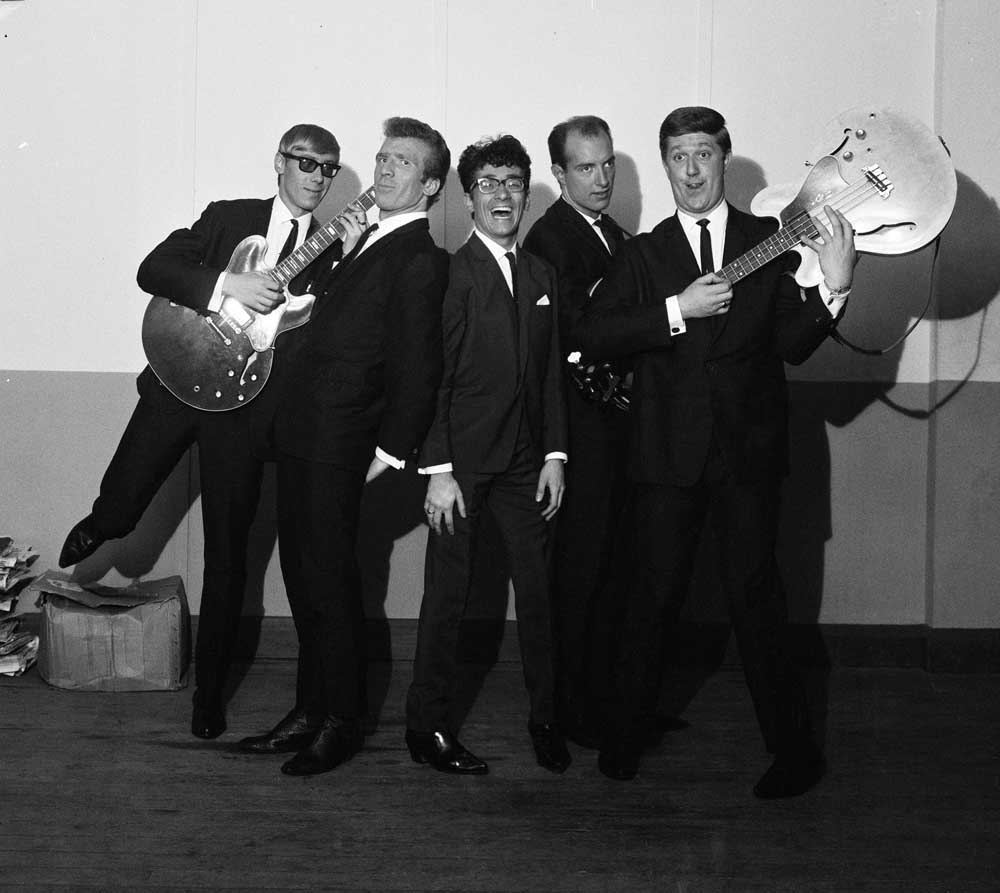 Freddie and the Dreamers strike a pose before going on stage, September 1963