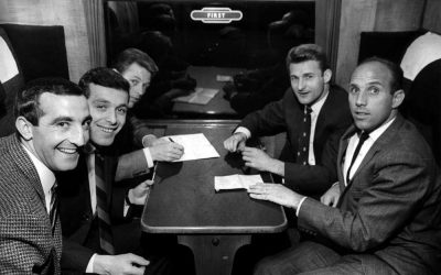 Liverpool FC players at Lime St. Station 1965