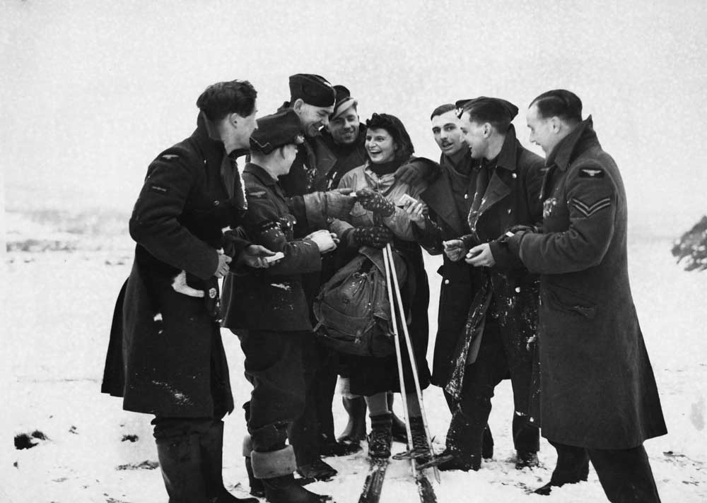 British troops have fun in the snow during WW2