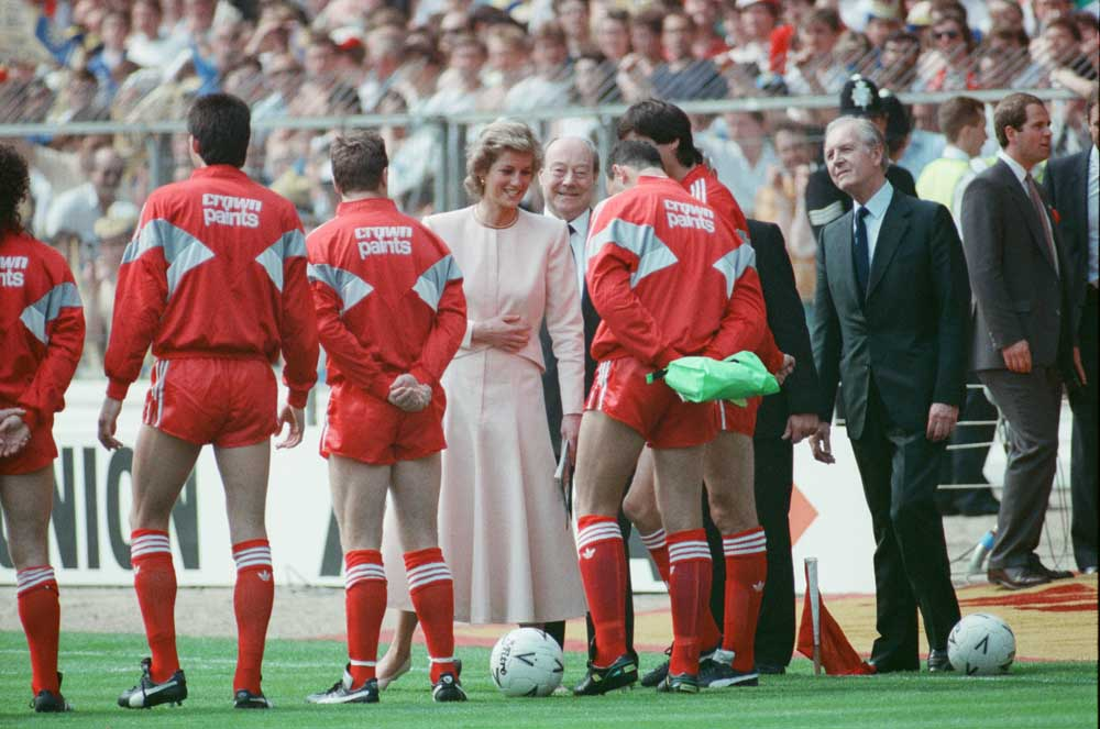Princess Diana chats to Bruce Grobbelaar before the 1988 FA Cup final at Wembley