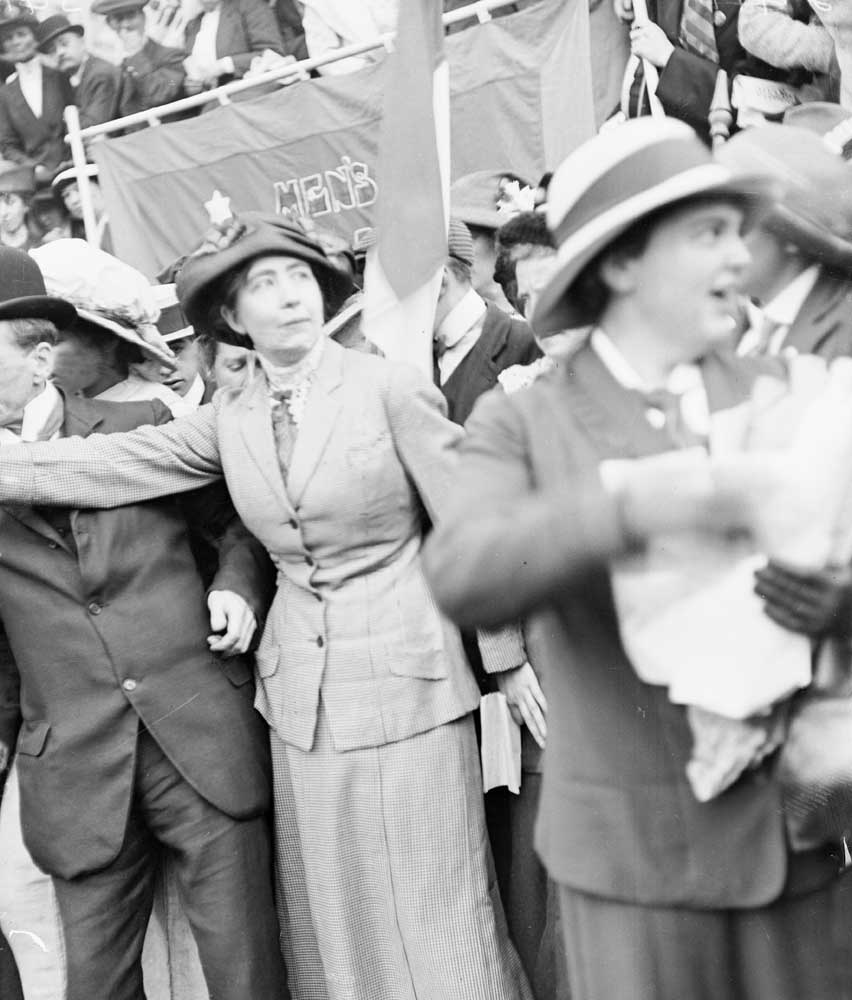 Sylvia Pankhurst addressing a suffragette meeting in London, July 1913