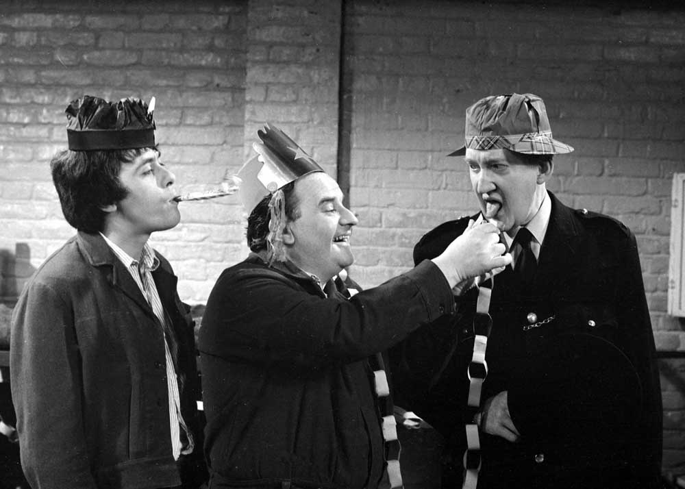 Brian Wilde, right, in Porridge with Richard Beckinsale and Ronnie Barker, December 1976