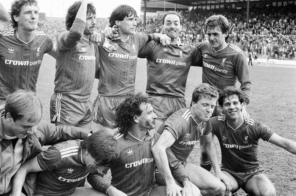Liverpool's league-winning team of 1986 with Bruce Grobbelaar second right at the back