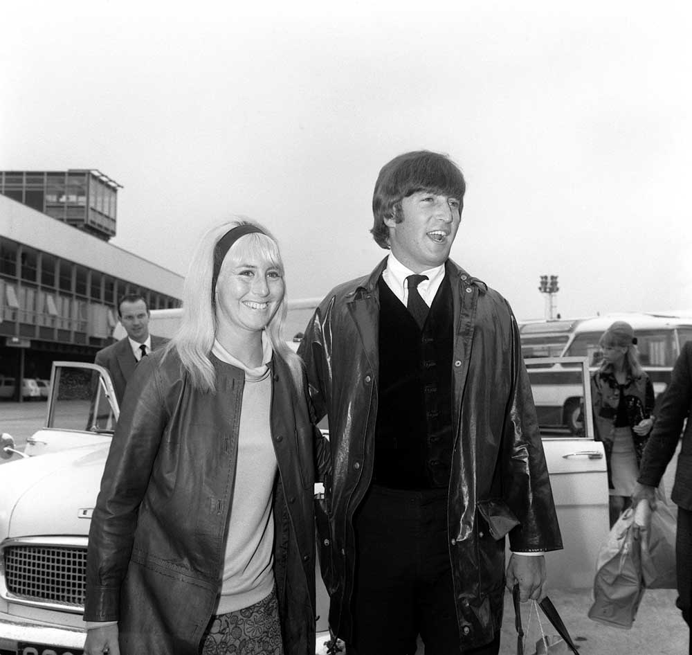John and Cynthia Lennon returning from their holidays, May 1964