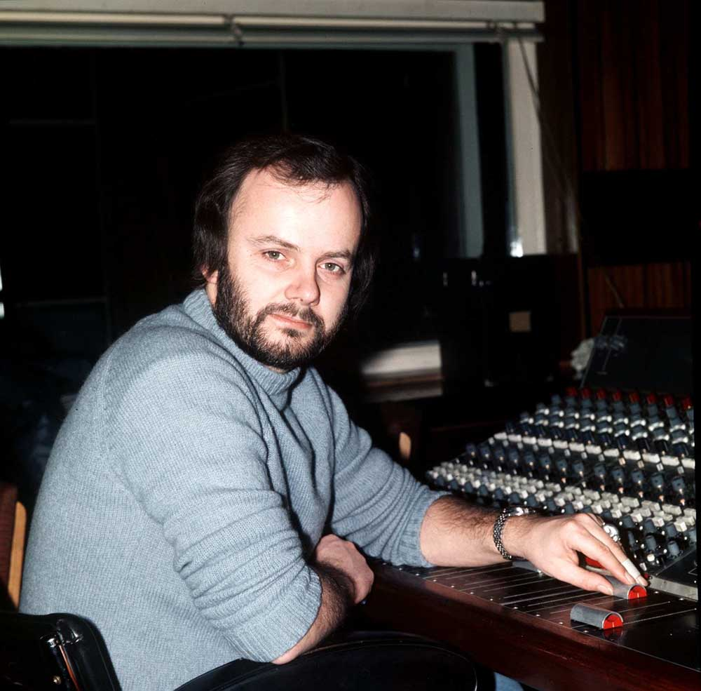 DJ John Peel at the mixing desk, February 1976