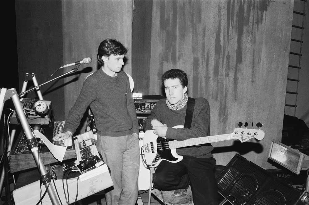 Paul Humphreys and Andy McCluskey of OMD in rehearsal, November 1981