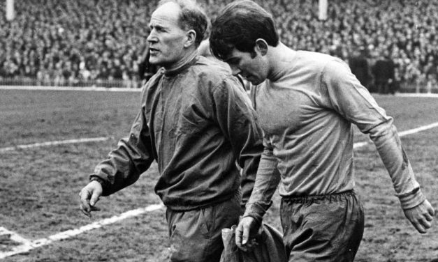 Everton's Howard Kendall limps off the pitch