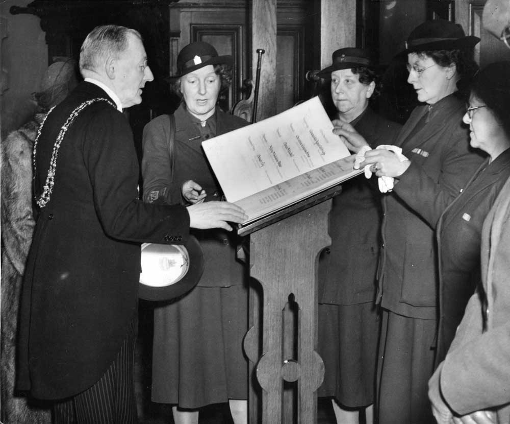 Women's Voluntary Service (WVS) roll of honour list at St Annes Church in Manchester. 2nd April 1951
