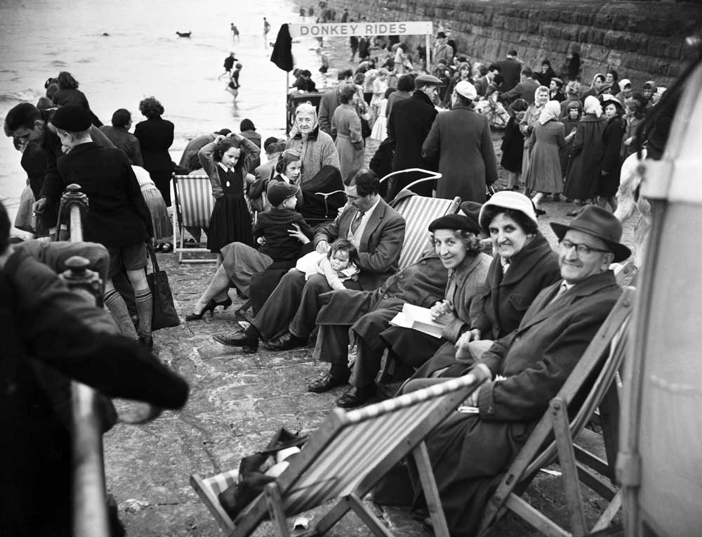 Manchester families on the beach at New Brighton, April 1959