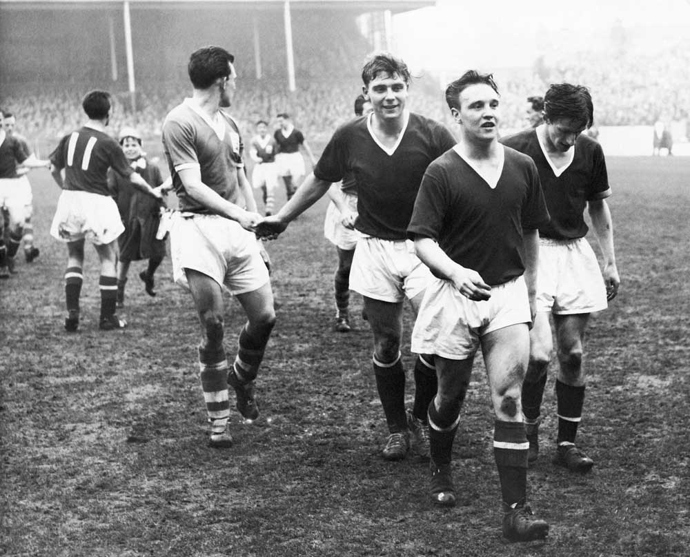 Duncan Edwards and Eddie Colman after beating Birmingham City 2-0 in the 1957 FA Cup semi-final