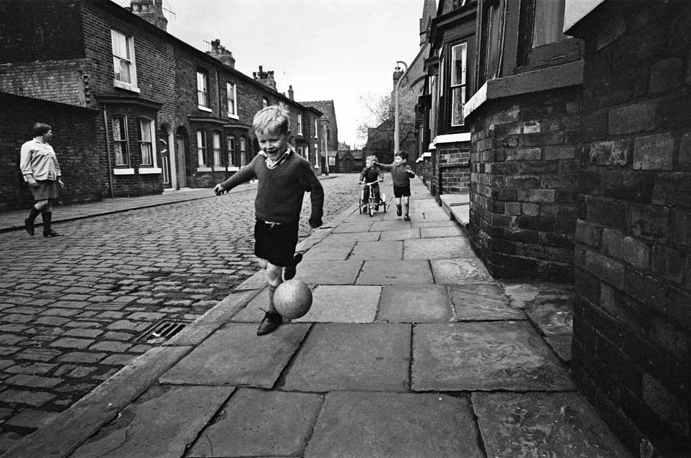 Children playing football in Archie Street, June 1967