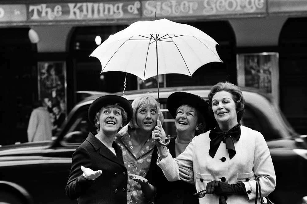 Beryl Reid, second right, with Lally Bowers, left, Eileen Atkins and an unnamed actress from The Killing of Sister George, June 1965