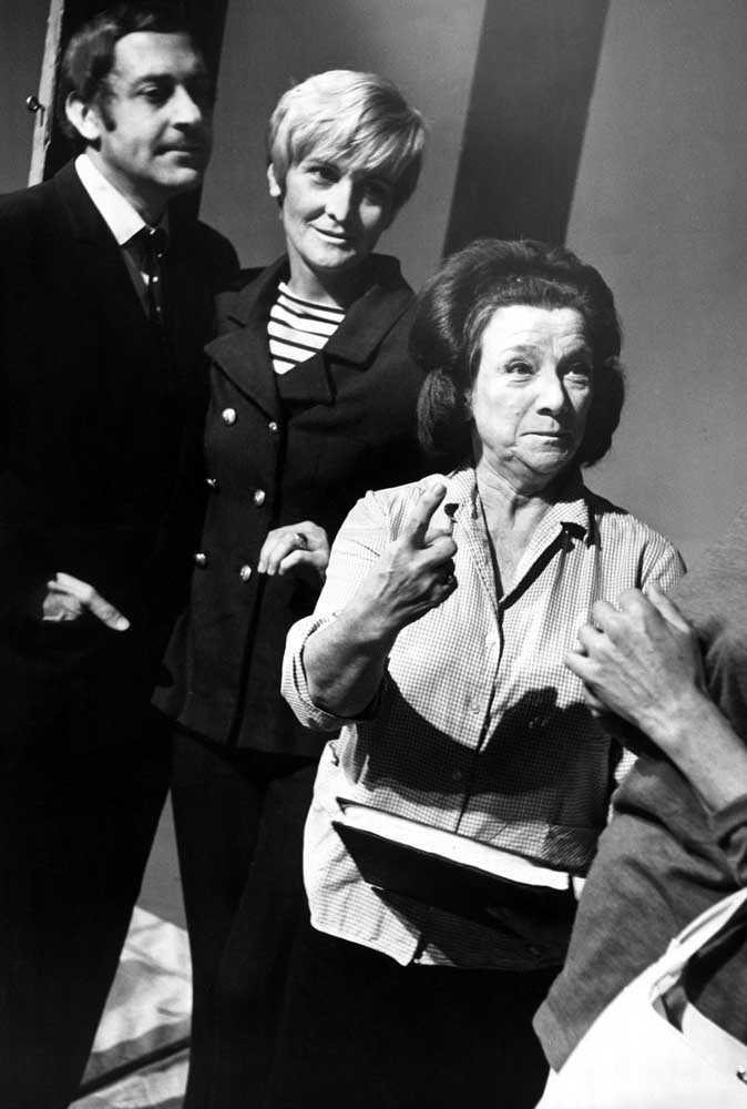 Hylda Baker and Sheila Hancock on stage with Harry H. Corbett, August 1967