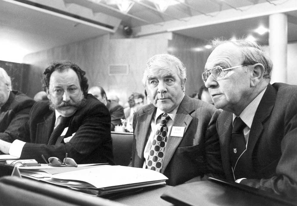 Jack Jones, right, with Tom Jackson from the Post Office Union and miners' leader Joe Gormley, April 1976