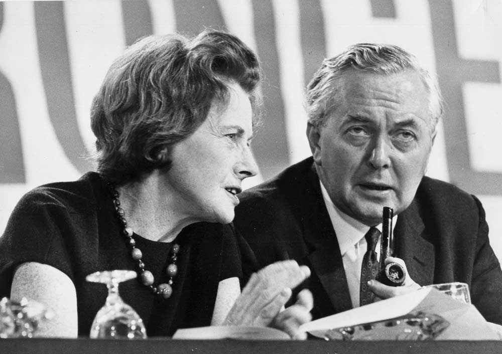 Barbara Castle and Harold Wilson at a Labour party conference, October 1966