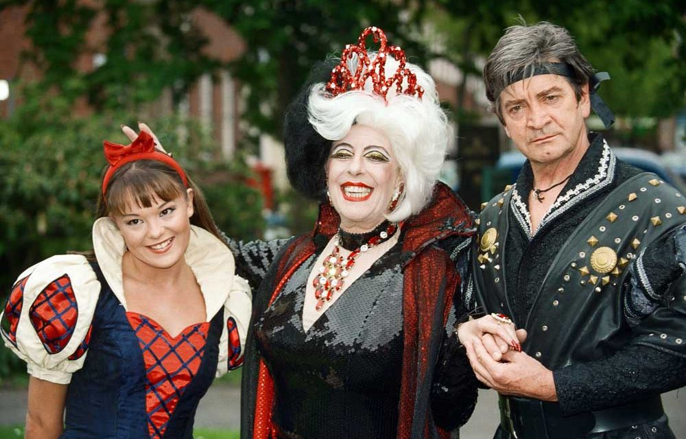 Julie Goodyear on stage as the Evil Queen